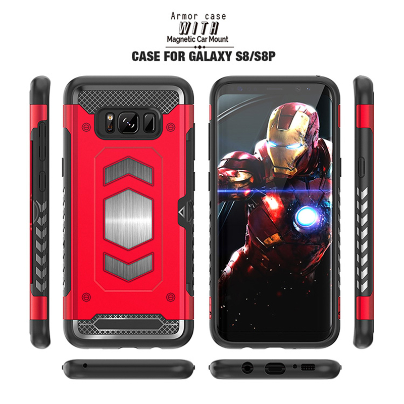 For Samsung Galaxy S9 Plus S7 Edge S8 Note 9 8 Magnetic Car Armor Case for A7 A9 A6 A8 Plus J4 J6 J8 2018 A5 J5 J7 2017 Cover