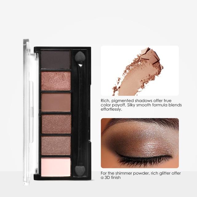 FOCALLURE 6 colors Smokey Matte Eyeshadow Palette Long lasting with Makeup Eye Shadow Brush 3