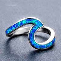 FDLK Fashion Wave Design Ocean Blue Fire Opal White Stone Wedding Personality Charm Ring Copper Ring Birthday Gift Female