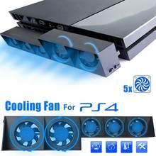 Refroidisseur USB intelligent à 5 ventilateurs, contrôle de la température Turbo, pour Playstation 4 et PS4