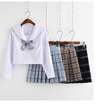 School Dresses For Girls White Shirt With Tie Plaid Pleated Skirt Large-Size S-5XL 3 Colors Jk Uniform Sailor Suit Anime Form(China)