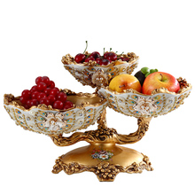 Natural Resin Applique Arabic Style Multi-layer Dried Fruit Tray Fashion Desk Stuff Beautiful plate