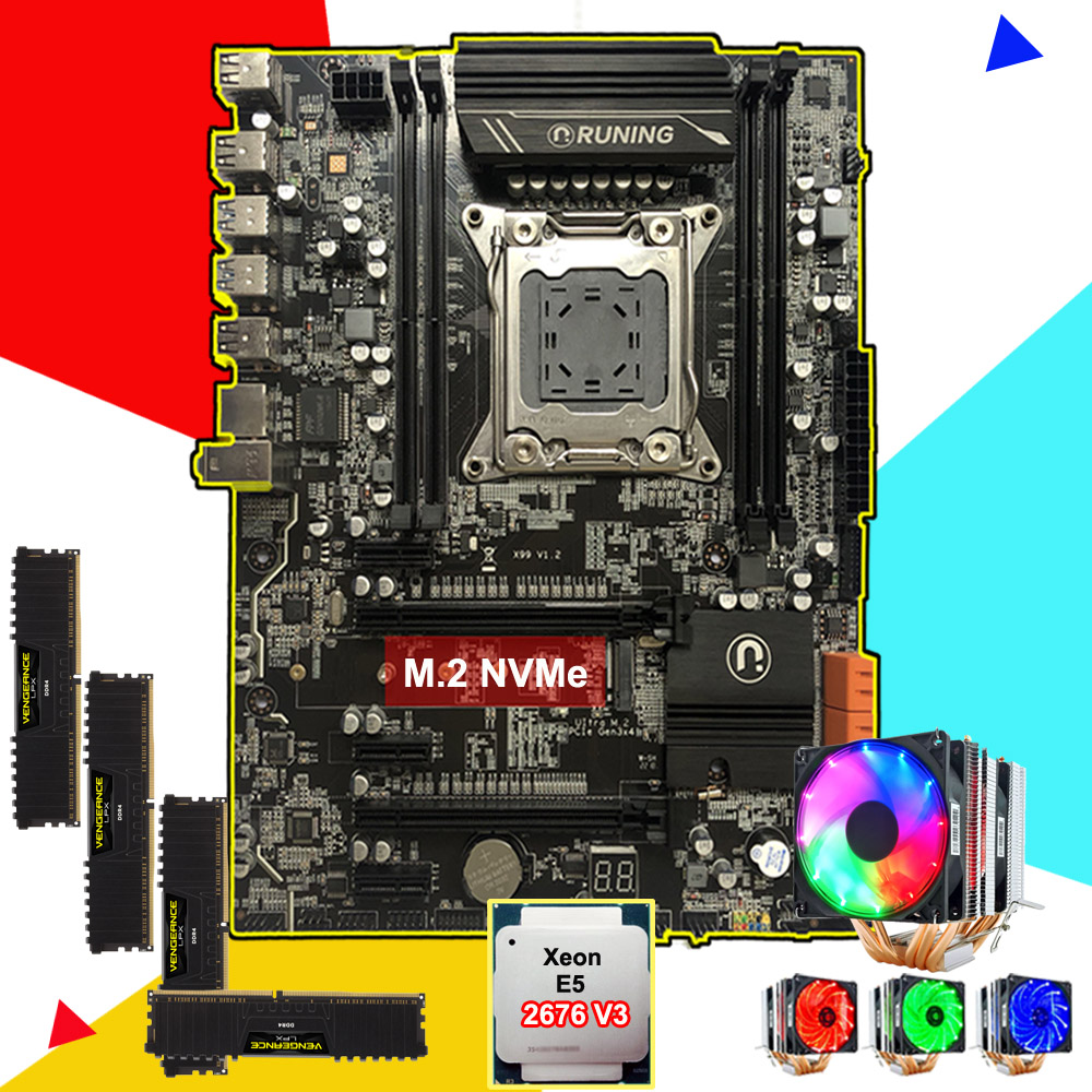 Brand Computer Parts Runing X99 LGA2011-3 Motherboard With M.2 NVMe Slot CPU Intel Xeon 2676 V3 Cooler RAM 64G(4*16G) DDR4 2400