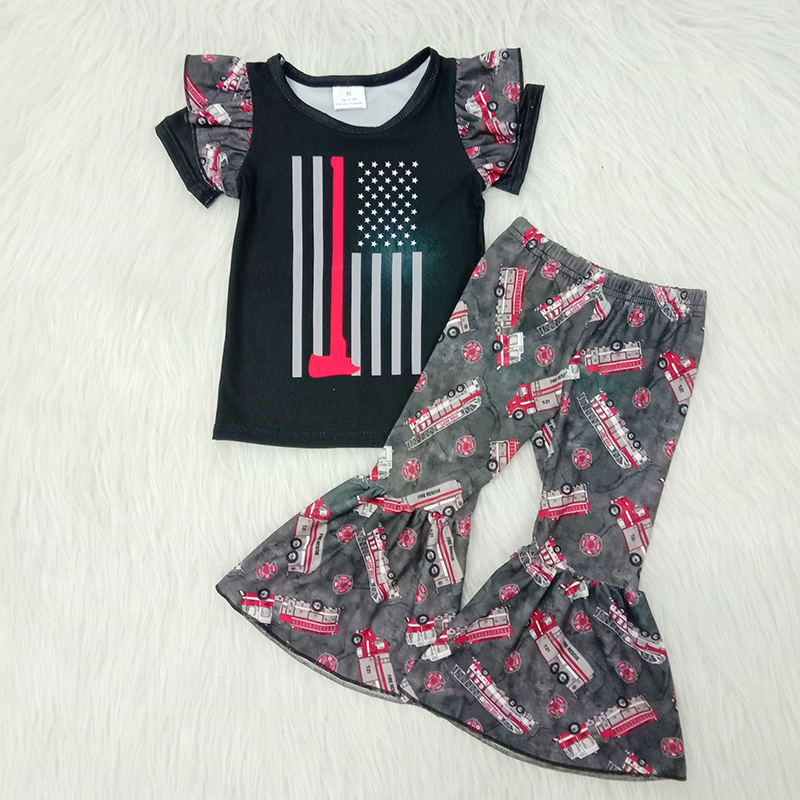 Spring Baby Boutique Girls Clothing Lovely Thin Red Line T-shirts Fire Truck Bell Bottom Pants Kids Outfits Children Clothes