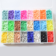 7200Pcs 24 Colors 6mm Flat Round Polymer Clay Discs Loose Spacer Beads for DIY Jewelry Making Craft Bohemian Bracelet
