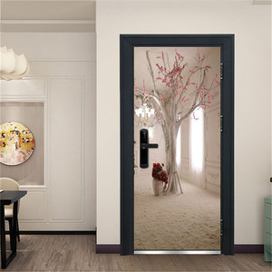 Image 2 - 3D Door Decoration Wallpaper Modern Design Door Sticker Self adhesive Waterproof Poster Home Door Renew Mural Decal deur sticker