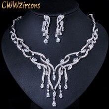 CWWZircons الفاخرة الأبيض مكعب زركونيا طويلة كبيرة شرابة قطرة الزفاف حزب قلادة الأقراط والمجوهرات مجموعات للنساء العرائس T357