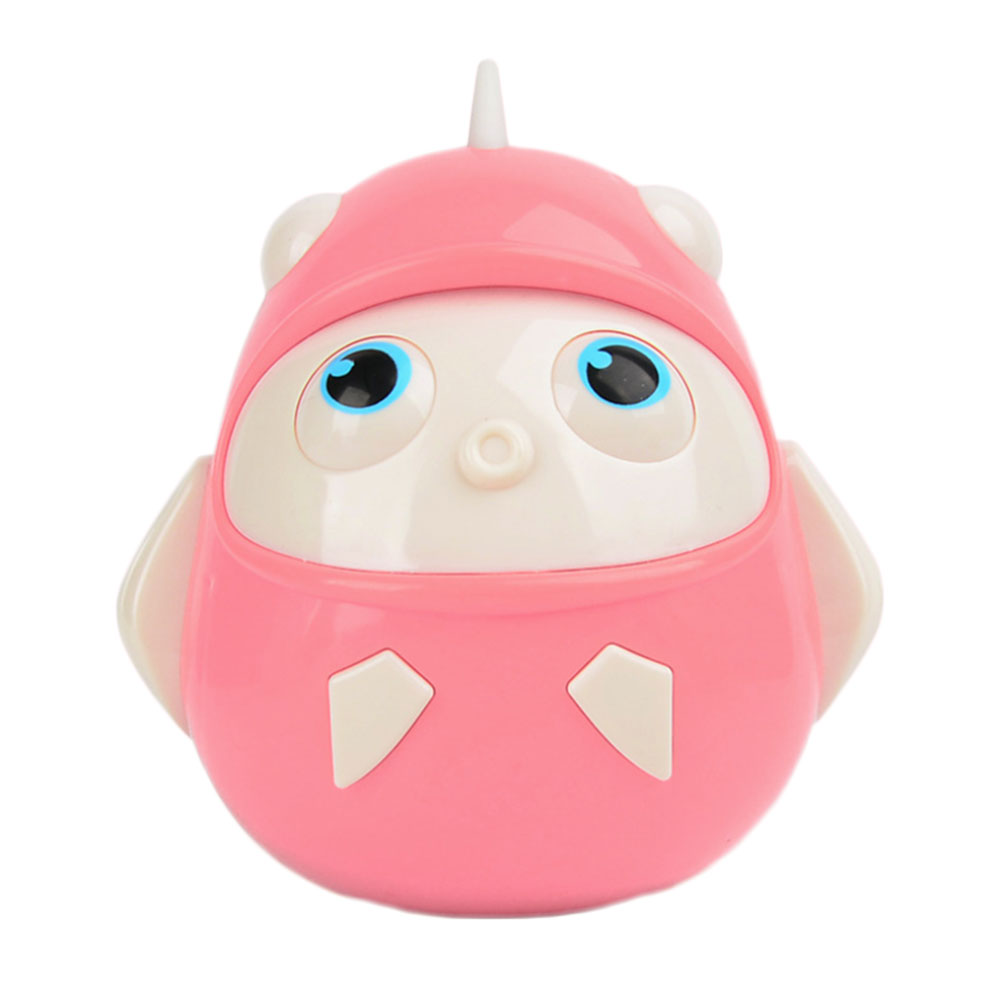 Newborn Baby Cute Bird Shaped Ring Bell Nodding Tumbler Toys  Baby Early Education Cartoon Bell Pink Nodding Doll