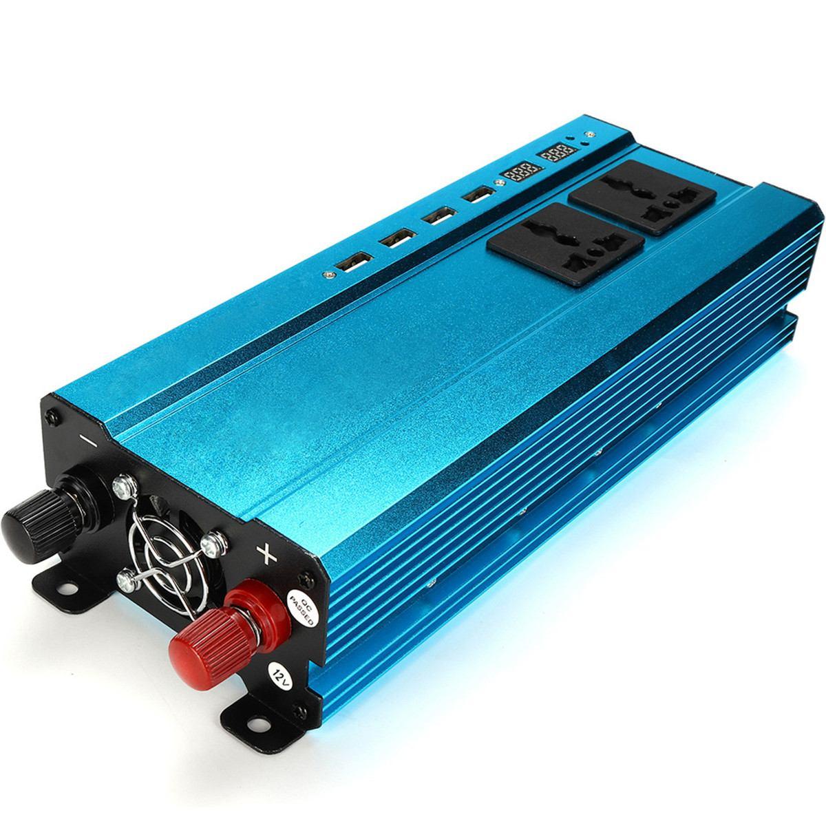2500W Inverter DC 12V/24V to AC 220V Modified Sine Wave Portable Car Power Inverter Converter Adapter 4 USB 2 LED Display