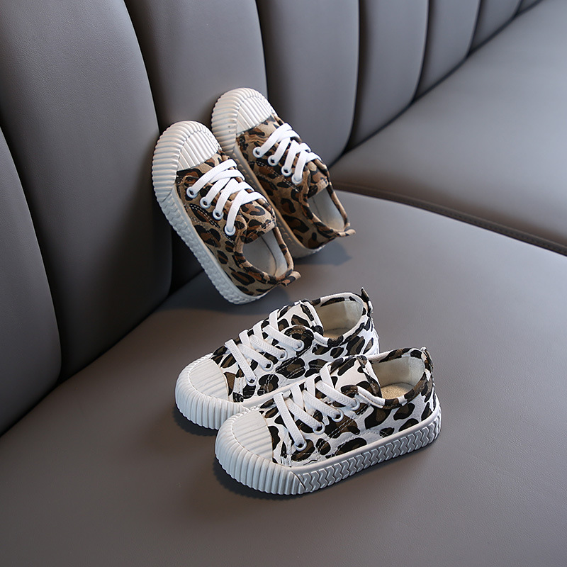 Leopard Little Girls Shoes 2020 Spring Autumn Children Flat Shoes Boys Sneakers Student White/Yellow Casual Shoes Toddler C12211
