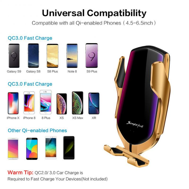 Automatic Qi Wireless Car Charging Charger Mount Clamping Vent Phone Holder W8 Leisure Mobile Phone Charging Holder Stand