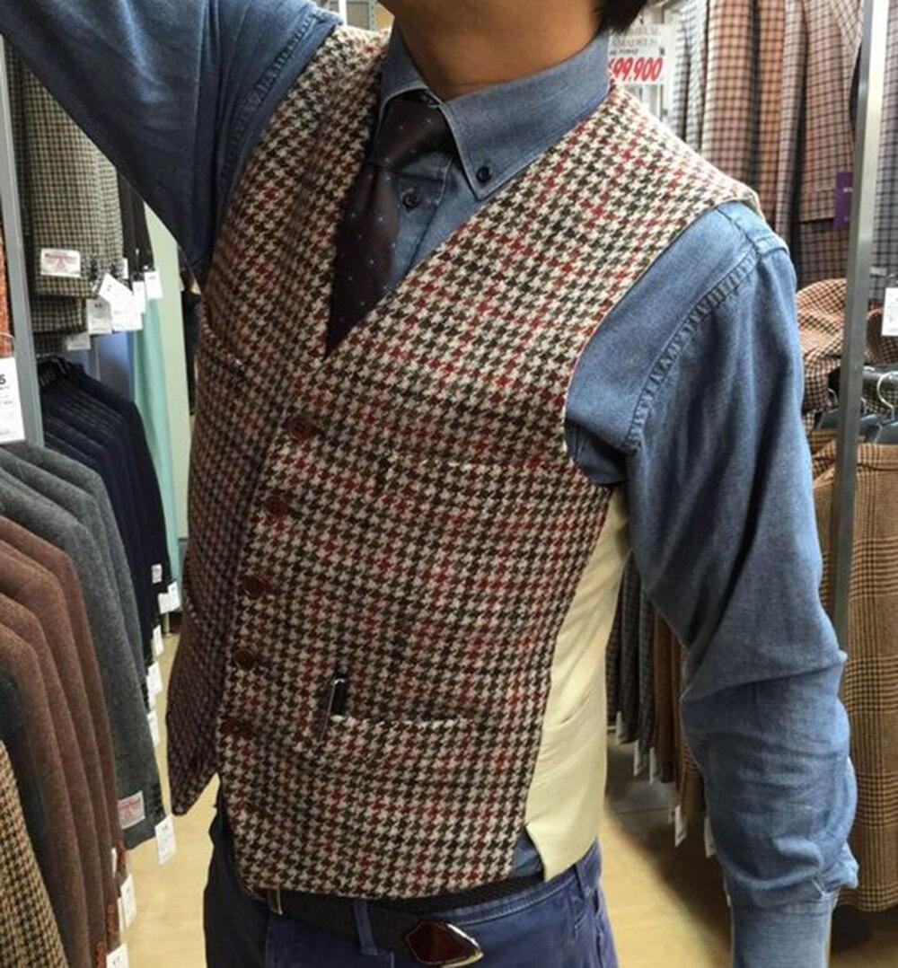 Men's Vintage Wool Houndstooth Vest Custom Made Plaid Tweed Vest Groom Wear Waistcoat Groomsmen For Wedding 2019 New