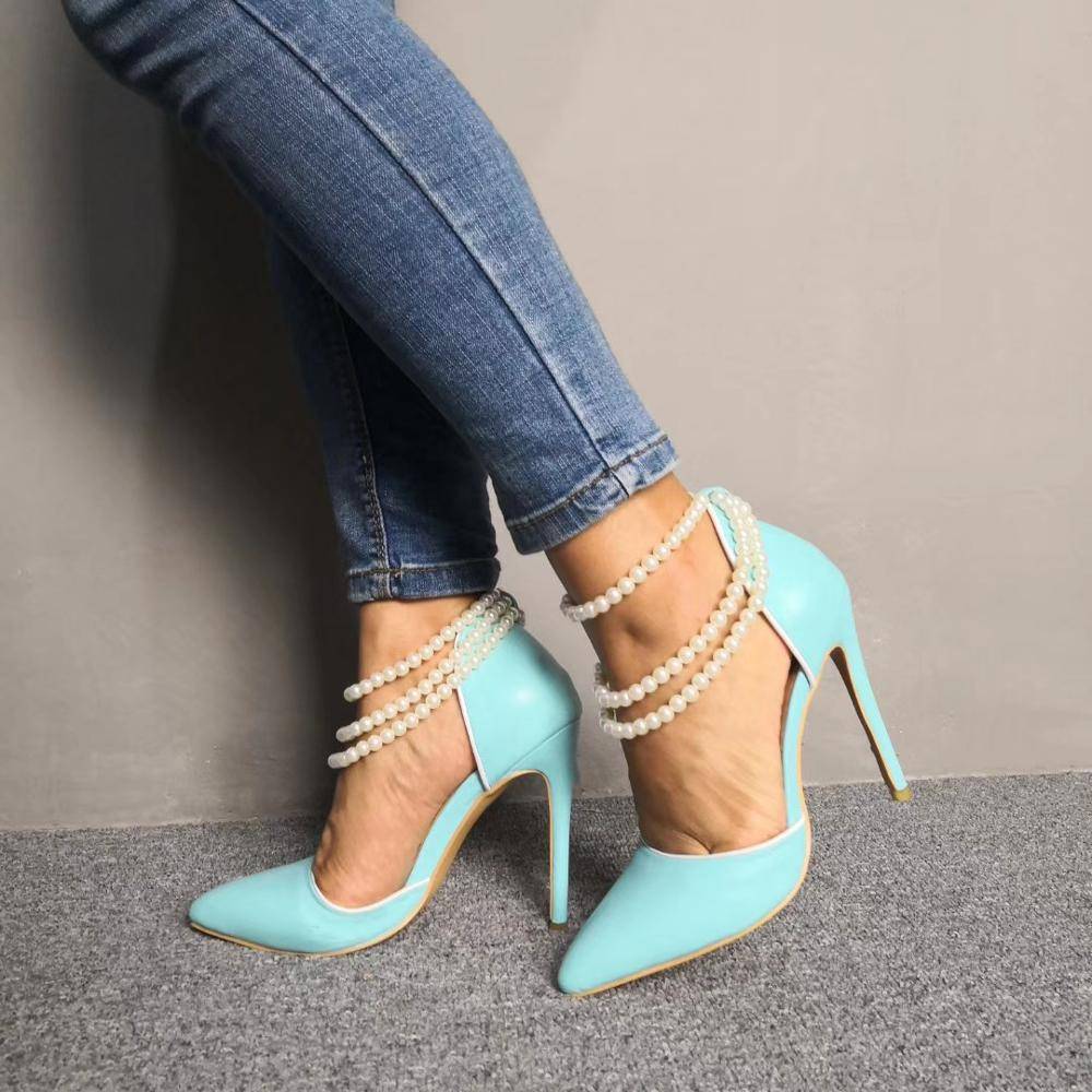 LAIGZEM Frauen Heels Stiletto Perle Straps High Heels Spitz Hochzeit Party Prom Pumpen Schuhe für Damen 2020 Große Schuhe 47-in Damenpumps aus Schuhe bei  Gruppe 3