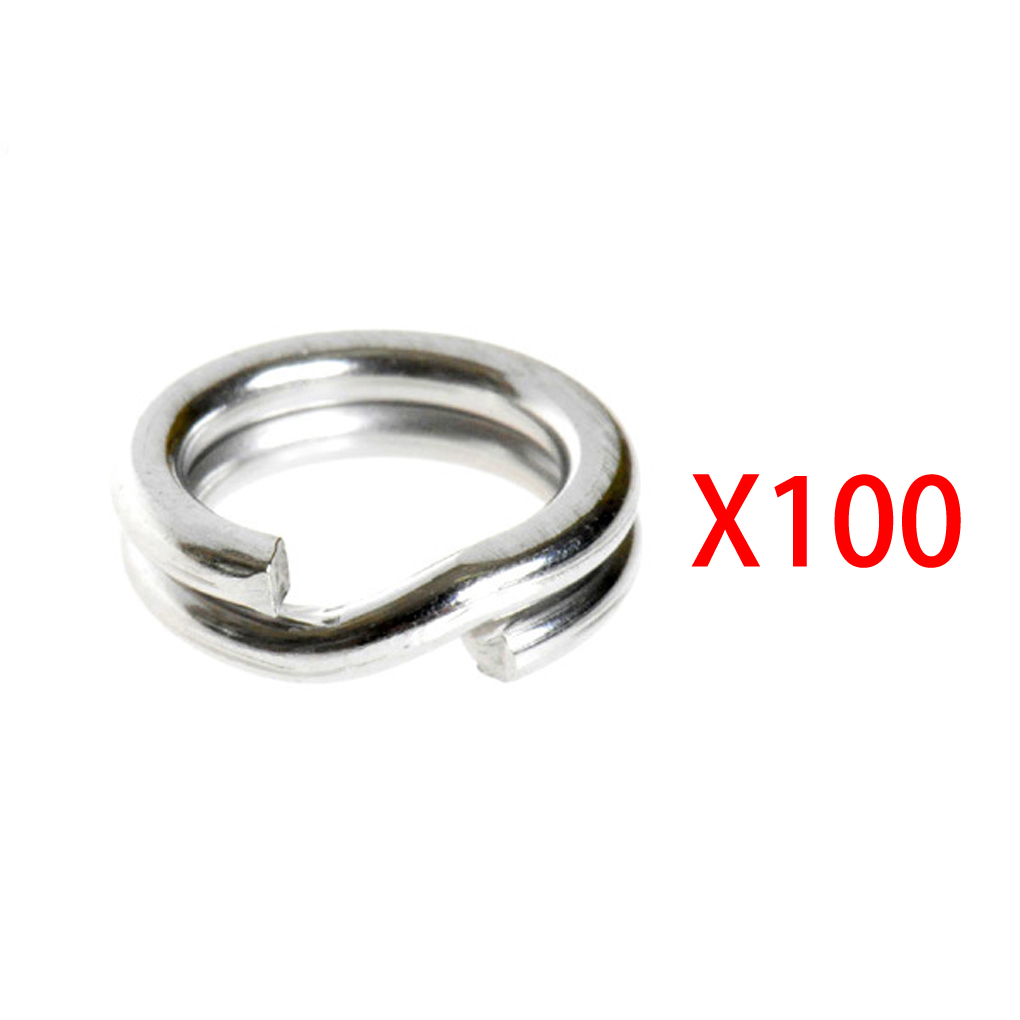 100Pcs Fishing Solid Stainless <font><b>Steel</b></font> Snap Split Ring Lure Tackle image
