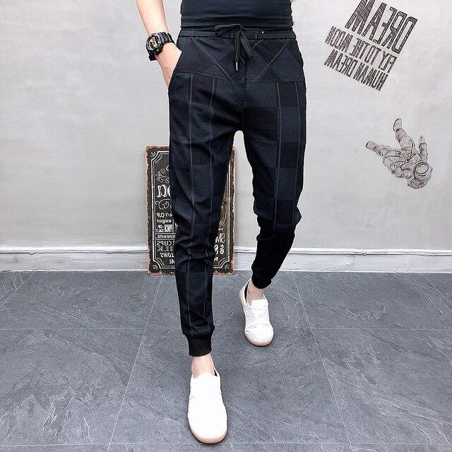 2019 Autum Mens Joggers Pants Hip Pop Casual Pencil Pant Sweatpants Trousers Streetwear Plaid Black Casual Harem Pants Plus Size 3