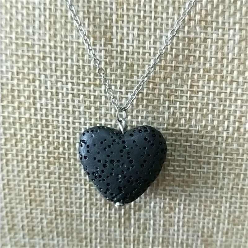Coração colorido lava pedra aroma difusor de óleo essencial colar aromaterapia jóias vulcânica pedra pedra colar fogo