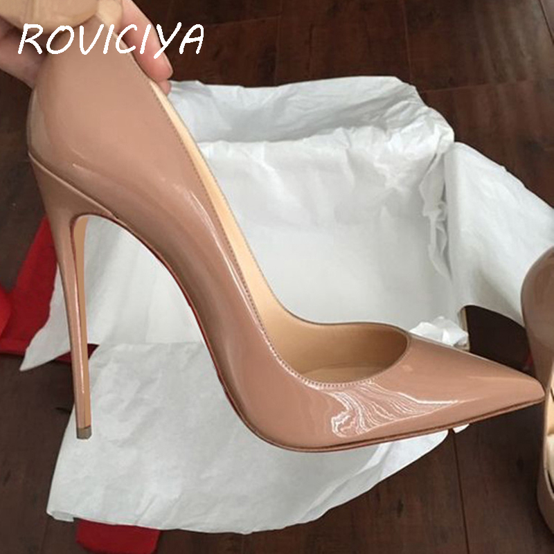 Red Black Yellow Extreme High Heel Pointed Toe New Ladies High-heeled Shoes Women's Shoes Party Wedding QP067 ROVICIYA