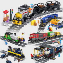 City Train Locomotive wagon carriage station car Model Technic Bricks Train Track railway Straight Curved Rails Sets Blocks Toys(China)