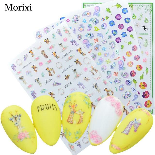Фото morixi nail art sticker big size back glue type black necklace цена