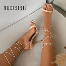 2021 Summer Pumps New Sexy Gladiator Sandals Shoes Women Sexy High Heels Open Toe Sandal Lady Ankle Strap Pump Shoes Size 35-42