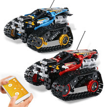 Technic RC Гусеничный трюк гонщик строительные блоки Совместимые Lego Creator приложение пульт дистанционного управления автомобиля Кирпичи Детские игрушки Подарки для детей