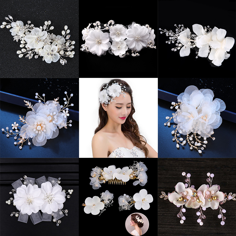 Elegant Floral <font><b>Hair</b></font> Pins White Lace Yarn Flower Pearl hairpin <font><b>Wedding</b></font> Tiara Crown <font><b>Headpieces</b></font> Women Bridal <font><b>Hair</b></font> <font><b>Accessories</b></font> image