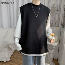 Men Sweater Vest Knitted Sleeveless Chic Male Solid Couples Daily Basic-Streetwear Loose