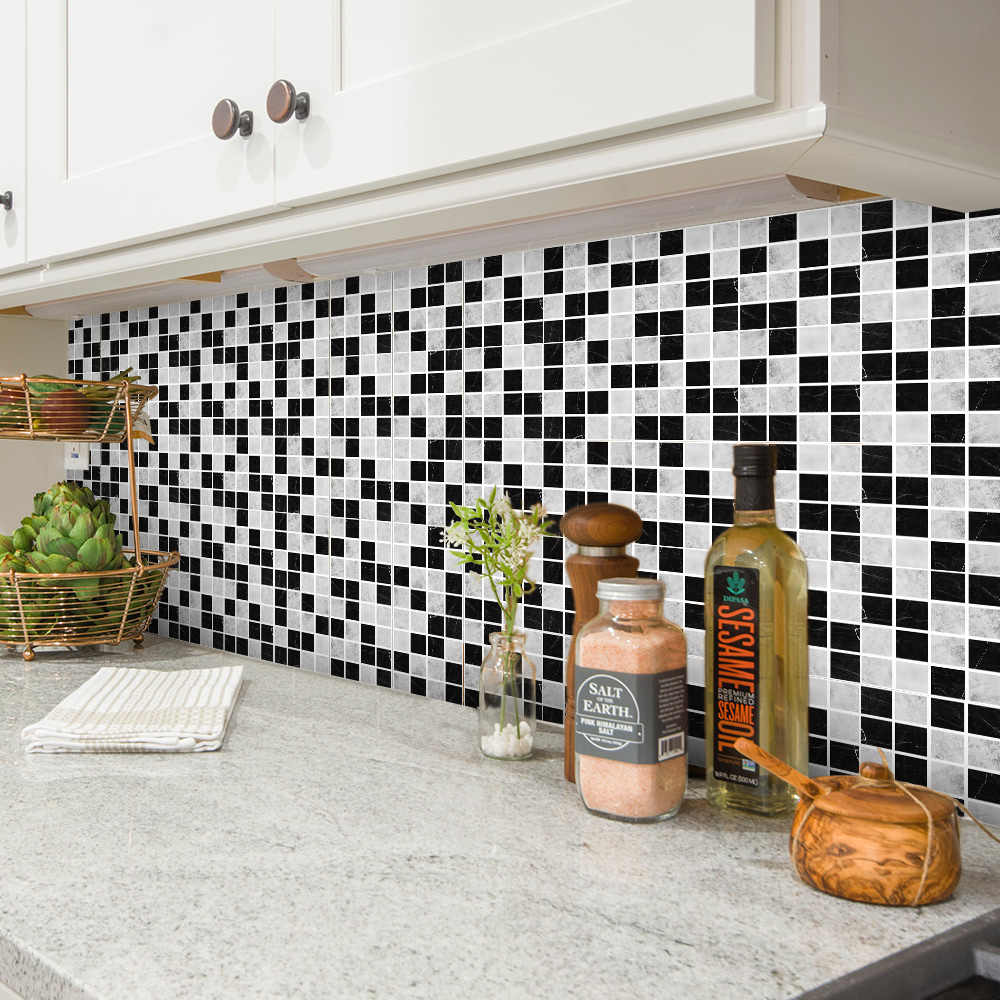 Self Adhesive 3d Mosaic Tile Sticker Kitchen Backsplash Bathroom Tile Wallpaper Vinyl Peel And Stick Tiles Wall Waterproof Wall Stickers Aliexpress