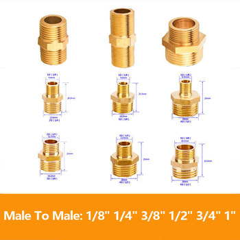 """1/8"""" 1/4"""" 3/8"""" 1/2"""" 3/4"""" 1"""" Male Thread Brass Pipe Equal Reducing Nipple Fittings Brass Quick Adapters Connectors"""