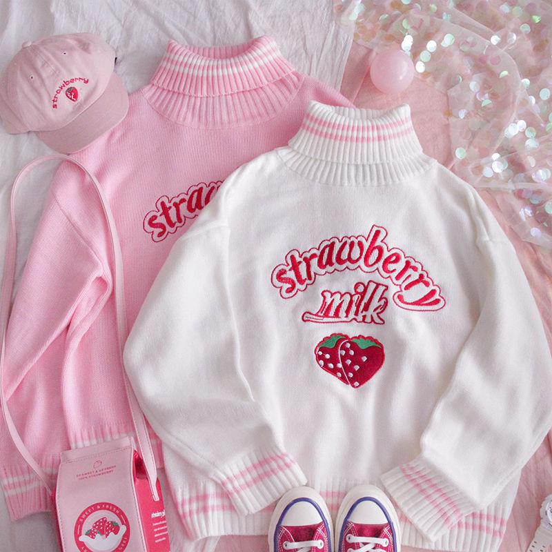 Korean Kawaii Strawberry Milk Embroidered Sweater Schoolgirl Winter Tops Preppy Style Pink White Loose Turtleneck Women Top