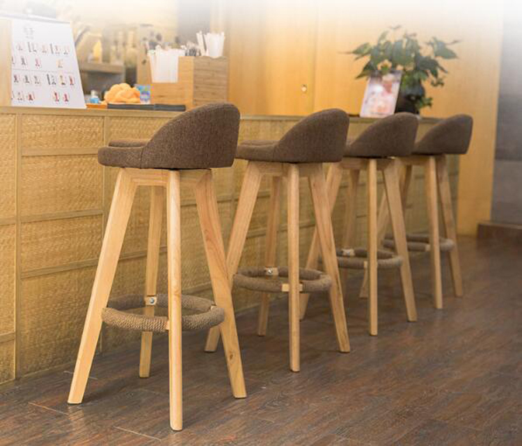 2pcs Bar Stool Modern Minimalist Home Solid Wood High Stool Bar Stool Bar Chair Leisure Back Chair Stool Backrest Chair
