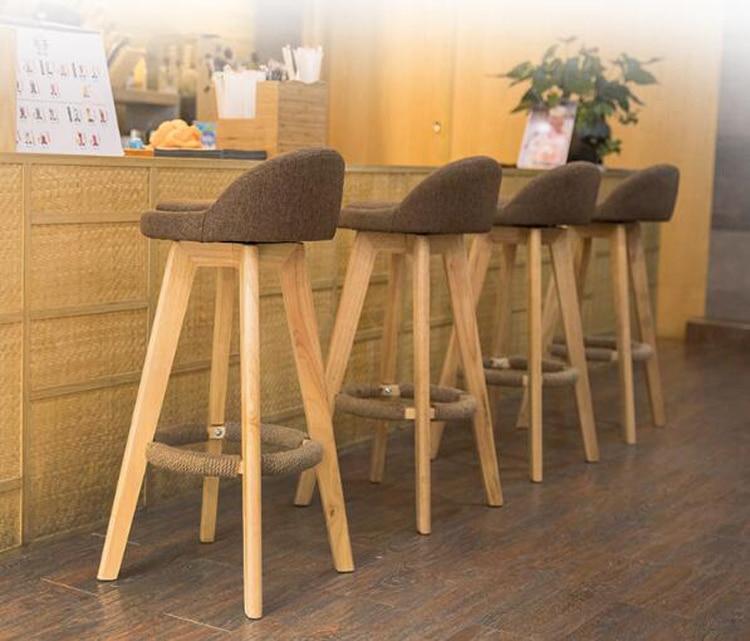 2pcs Bar Stool Modern Minimalist Home Solid Wood High Stool Bar Stool Bar Chair Leisure Back Chair Stool Backrest Chair