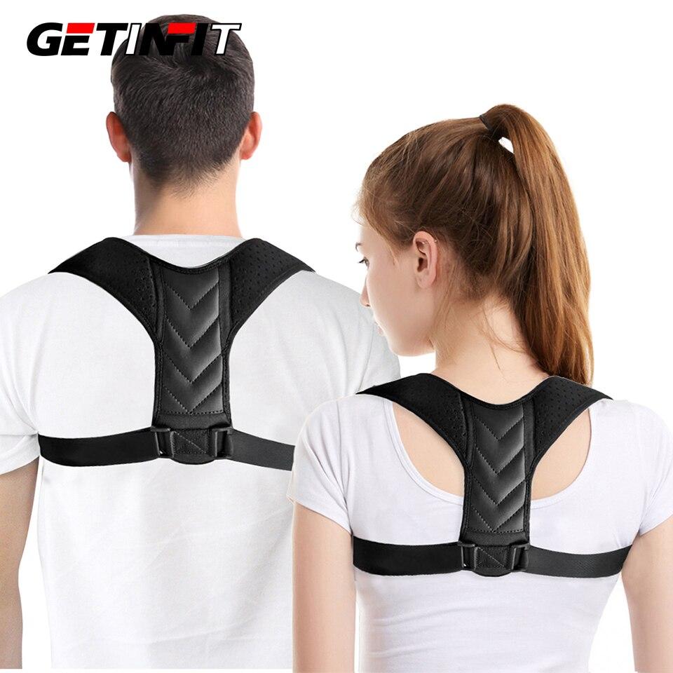 Getinfit postura corrector volta cinta ajustável postura trainer coluna postura suporte para alívio da dor nas costas superior