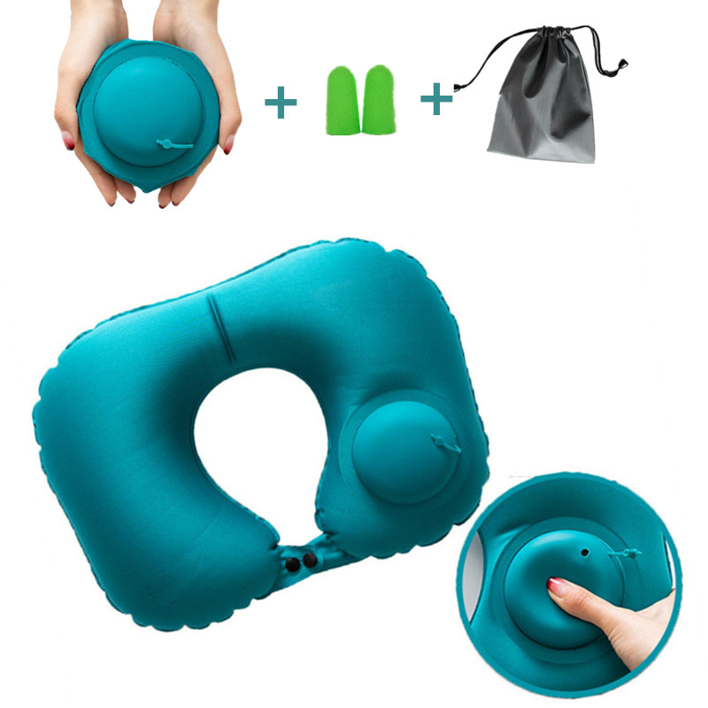 Inflatable Outdoor Camping Pillow Ultralight Travel Pillows With Pocket Portable Inflation Cushion For Airplane Car Camping