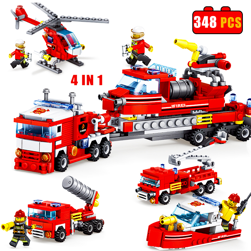 348pcs Fire Fighting Car Helicopter Boat Compatible Legoinglys Technic Assembled Model Building Block Toy Kit Educational Gifts