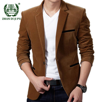 Фото #1: Men's Blazer Spring Autumn Fashion Cotton Slim Fit Suit Male British's Style Business Casual Blazers