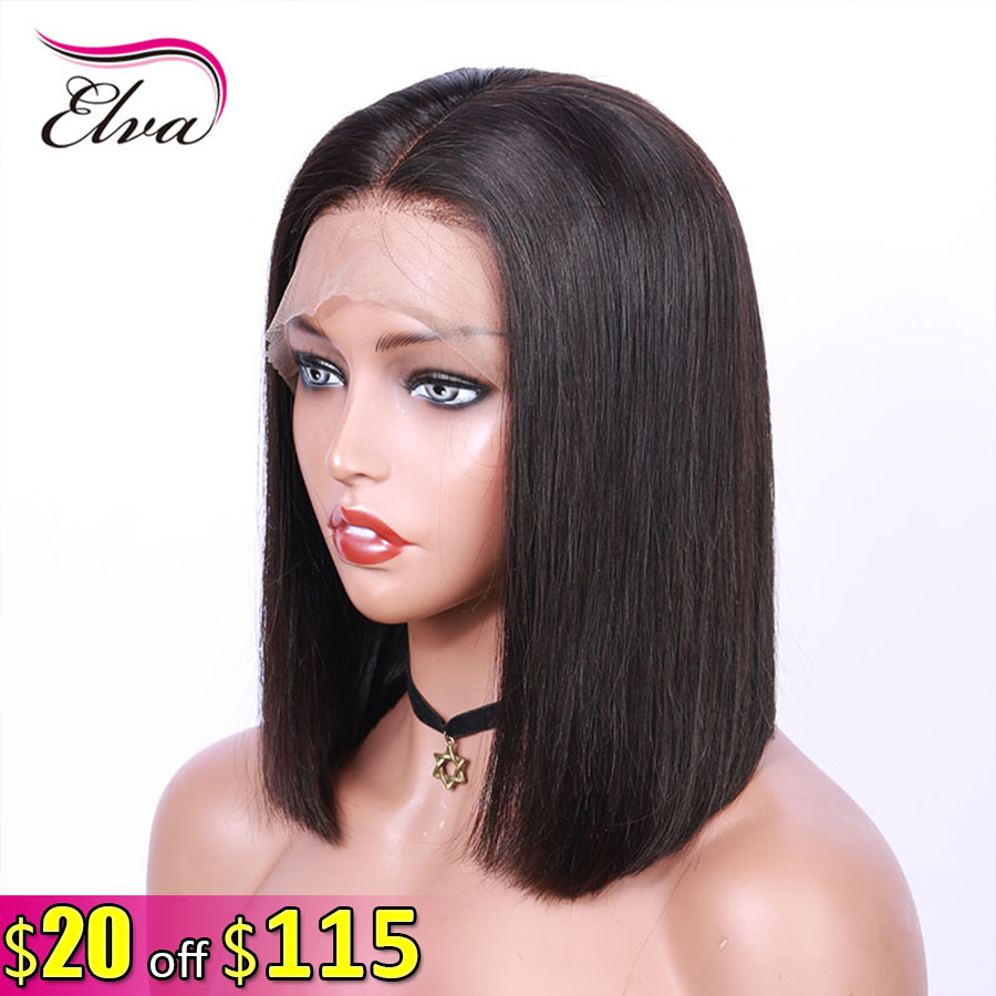 13x6 Lace Front Human Hair Short Bob Wigs Pre Plucked With Baby Hair Remy Straight Hair Lace Wigs For Black Women Elva Hair