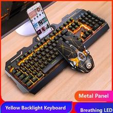 Clavier de jeu souris de jeu mécanique sentiment rvb LED claviers de joueur rétro éclairé clavier filaire USB pour jeu PC ordinateur portable