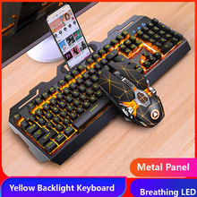 Gaming Keyboard Gaming Mouse Mechanical Feeling RGB LED Backlit Gamer Keyboards USB Wired Keyboard for Game PC Laptop Computer