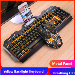 Gaming Keyboard Gaming Mouse Mechanical Feeling RGB LED Backlit Gamer Keyboards USB Wired Keyboard for Game PC Laptop Computer