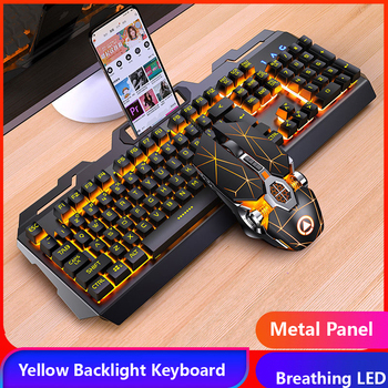 цена на Gaming Keyboard Gaming Mouse Mechanical Feeling RGB LED Backlit Gamer Keyboards USB Wired Keyboard for Game PC Laptop Computer