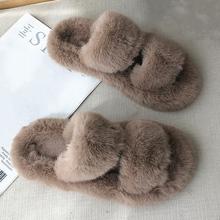 Dom zimowy damskie futrzane kapcie moda krzyż zespół ciepłe pluszowe damskie puszyste buty przytulne z wystającym palcem kryty rozmyte slajdy dla dziewczynek tanie tanio BEVERGREEN Futro CN (pochodzenie) RUBBER Niska (1 cm-3 cm) Pasuje prawda na wymiar weź swój normalny rozmiar Krótki pluszowe
