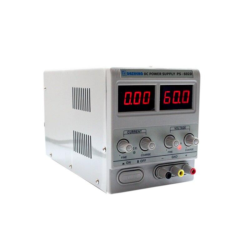 Profesjonalny linear sieciowe do laboratoriów 60v 2A regulator napięcia 220 v regulowany zasilacz ławce zasilania PS-602D