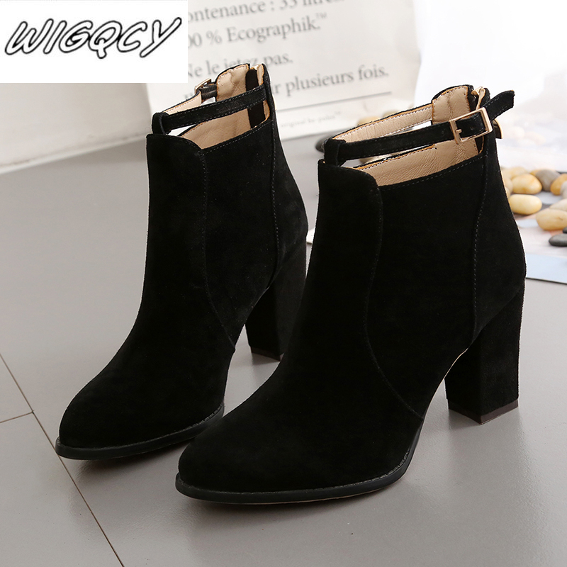 Women Shoes New Autumn Winter Fashion Woman Boots High Heels women Leather Ankle Boots Sexy Pointed Toe Boot