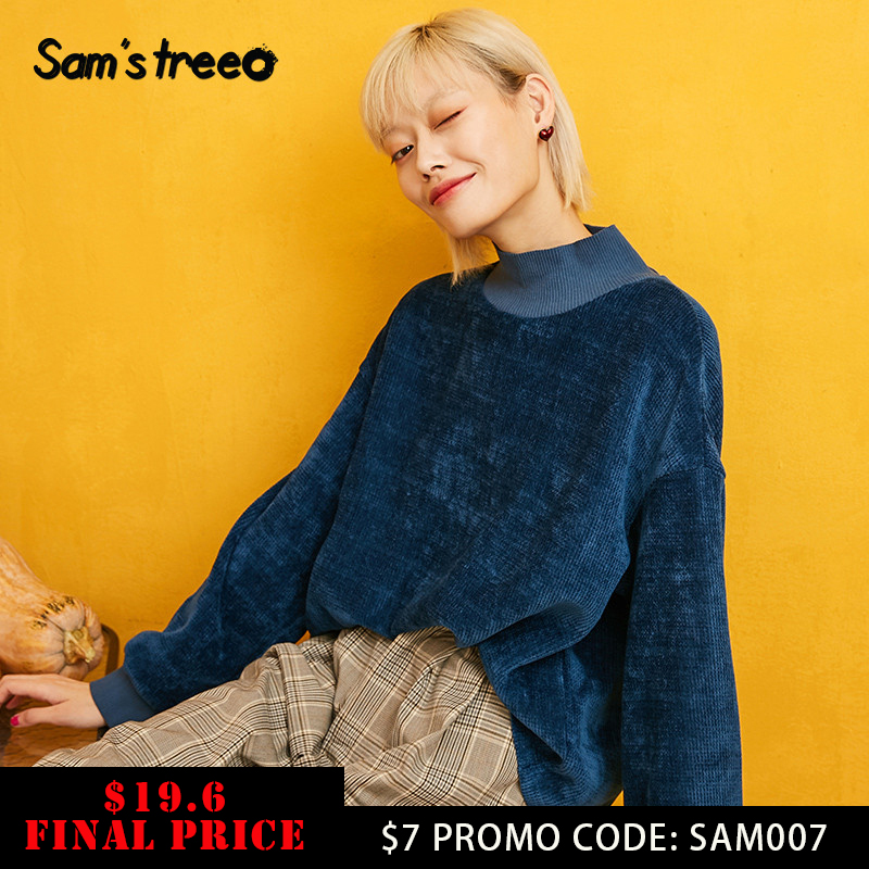SAM'S TREE Blue Solid Turtleneck Knit Hoodies Leisure Sweatshirt Women 2019 Autumn Long Sleeve Casual Office Ladies Basics Tops