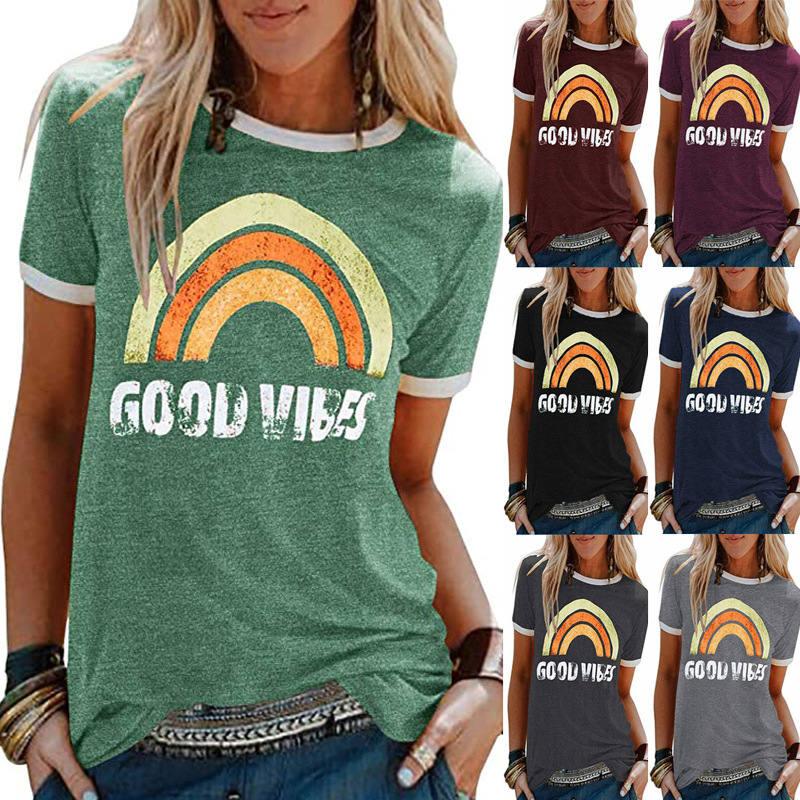 Women Good Vibes Rainbow Short Sleeve Streetwear Graphics Top Aesthetic Tee Slogan Crew Neck Hipster Casual Summer Soft T-Shirt 1