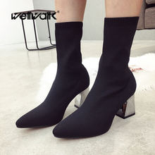 Wellwalk Black Sock Boots Metal Chunky Heels Women Dress Ankle Booties Stretch Fabric Pointed Toe Lady Winter Party Shoes Woman tinghon women ankle boots stretch fabric sock boots chunky high heels stretch women autumn winter sexy booties pointed toe boot