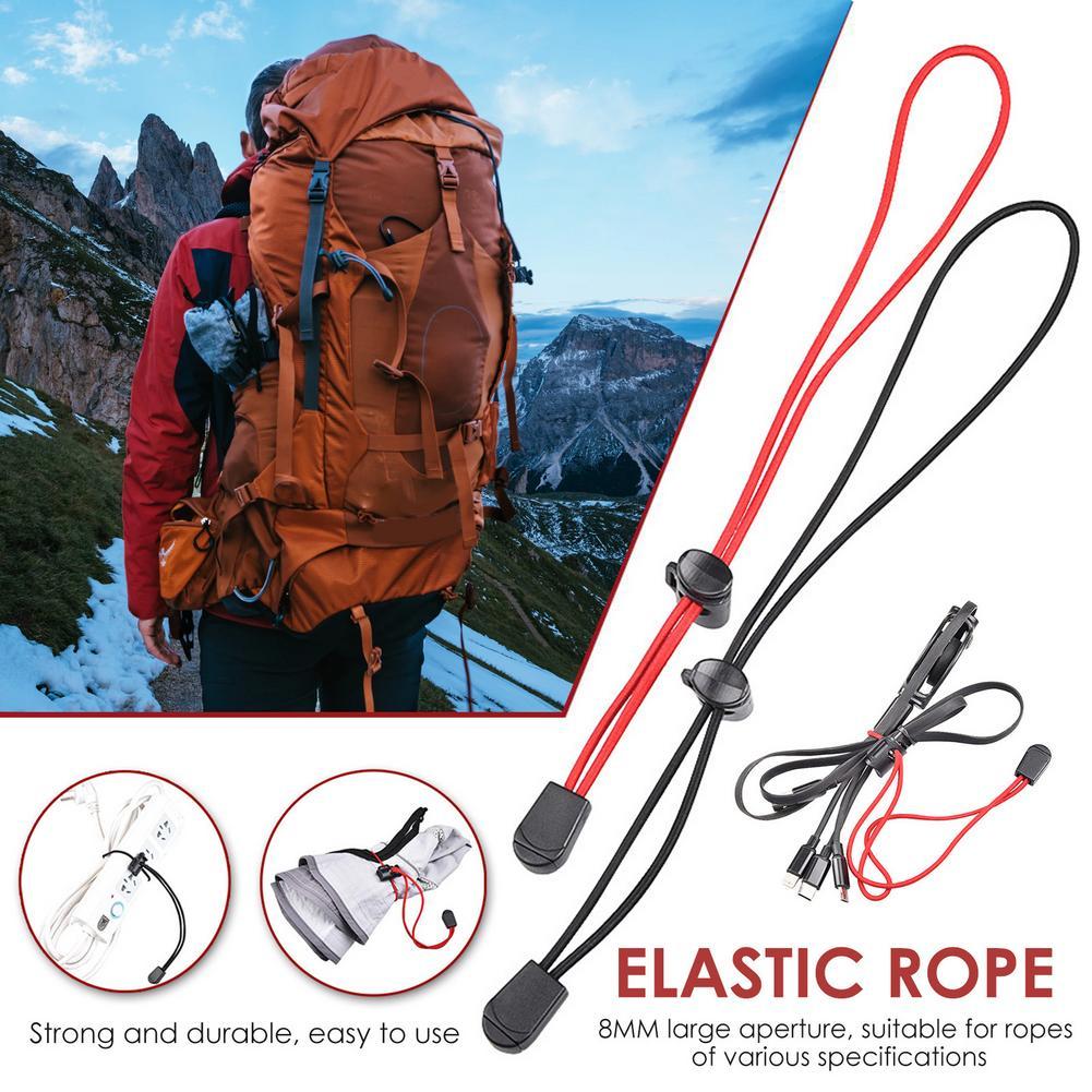 Cuerda elástica fuerte de alta calidad, hebilla de plástico duradero, cuerda elástica ligera para mochila al aire libre, soporte para bastón de senderismo Herramientas de exterior    -