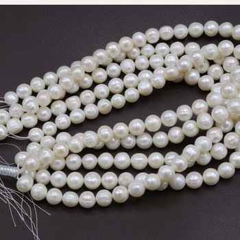 5 Qty 11-12mm loose pearl string genuine freshwater pearls white beads