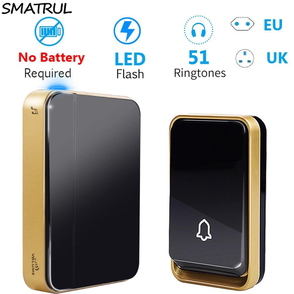 SMATRUL self powered Wireless DoorBell Waterproof no battery EU UK plug smart home Door Bell chime 1 Transmitter 1 2 Receiver-in Doorbells from Home Improvement